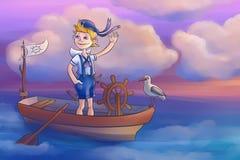 男孩在小船航行 免版税图库摄影
