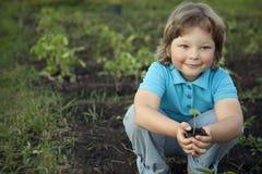 男孩在庭院在种植前敬佩植物 绿色Sprou 免版税库存照片