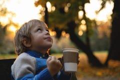 男孩在手上拿着杯子在落叶背景 秋天心情好天气 在静物画的金黄秋天 明亮的秋天 免版税图库摄影