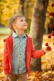 年轻男孩在有苹果诗歌选的秋天公园 免版税库存照片