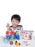 男孩在白色的绘画艺术 免版税库存照片