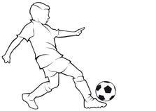 男孩在白色隔绝的足球运动员等高 免版税库存照片