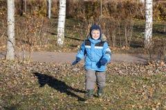 男孩在秋天公园走 免版税库存照片