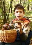 男孩在秋天森林里收集蘑菇 库存图片