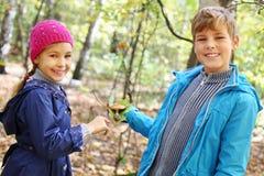 男孩在秋天的举行绿色叶子和女孩微笑 免版税库存图片