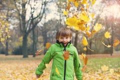 男孩在秋天的公园 免版税库存图片