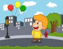 男孩在空气动画片看见气球漂浮 图库摄影