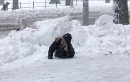 年轻男孩在落奋斗在雪以后 免版税库存照片