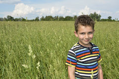 男孩在高草的一个领域站立 免版税库存图片