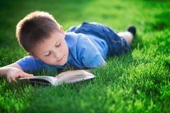 男孩在绿草的阅读书 免版税库存照片
