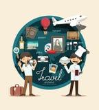 男孩在infographic假期的设计的旅行计划,学会概念vec 库存照片