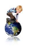 男孩地球 库存照片