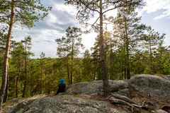 男孩坐一个岩石在森林里 库存照片