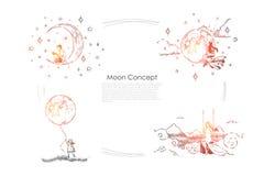 男孩坐与书,摇摆的,拿着巨大的月亮气球,想象力横幅的女孩年轻女人的月牙 向量例证
