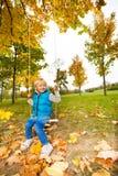 男孩坐拿着绳索的摇摆在公园 库存照片