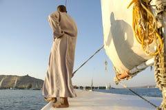 男孩埃及尼罗河剪影 免版税库存照片