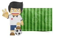 男孩域橄榄球纸张papercraft回收了 库存照片
