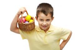 男孩复活节彩蛋 库存图片