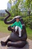 男孩大象 免版税库存照片