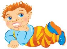 男孩头发的红色 免版税库存照片