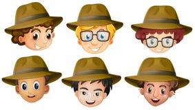 男孩头有棕色帽子的 皇族释放例证