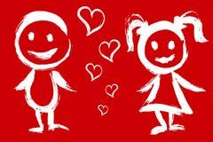 男孩女孩加上与爱是相等的。 皇族释放例证