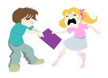 男孩女孩淘气向量 免版税图库摄影