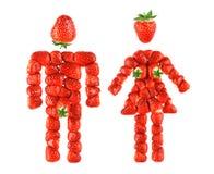 男孩女孩草莓 免版税库存图片