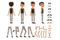 男孩字符创作集合,学生用不同的姿势,姿态的男孩建设者,穿上鞋子传染媒介例证 向量例证