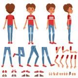 男孩字符创作集合,用不同的姿势,姿态的逗人喜爱的男孩建设者,穿上鞋子传染媒介例证 皇族释放例证