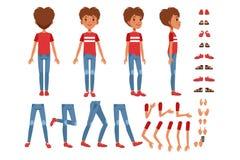 男孩字符创作集合,用不同的姿势,姿态的逗人喜爱的男孩建设者,穿上鞋子传染媒介例证 向量例证