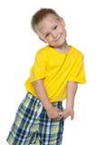 男孩害羞的一点 免版税图库摄影
