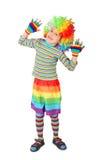 男孩小丑礼服现有量查出白色 免版税库存图片