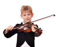 男孩小小提琴手 图库摄影