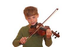 男孩小提琴 库存图片