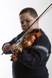 男孩小提琴 库存照片