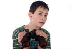 男孩小望远镜 免版税库存照片