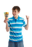 男孩少年藏品的货币 免版税库存图片
