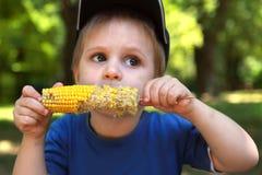 男孩少许吃玉米棒的玉米 免版税图库摄影