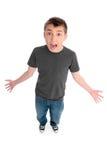 男孩尖叫的叫喊 免版税库存图片