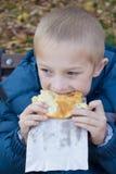 男孩尖酸的食物 免版税图库摄影