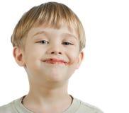 男孩巧克力逗人喜爱的表面 免版税库存图片