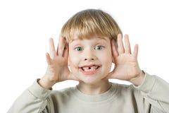 男孩巧克力逗人喜爱的表面 库存照片