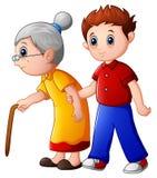 男孩帮助老妇人和帮助她走与她的藤茎 向量例证