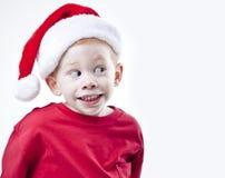 男孩帽子圣诞老人 图库摄影
