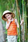 男孩帽子徒步旅行队 免版税库存照片