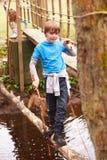 男孩平衡在日志的横穿小河在活动中心 库存图片