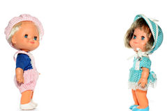 男孩愉快玩偶的女孩 库存照片