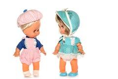 男孩愉快玩偶的女孩 库存图片