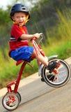 男孩愉快的三轮车 免版税图库摄影